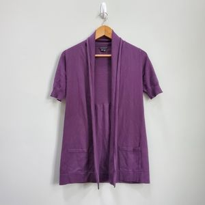 Theory Short Sleeve Purple Cardigan